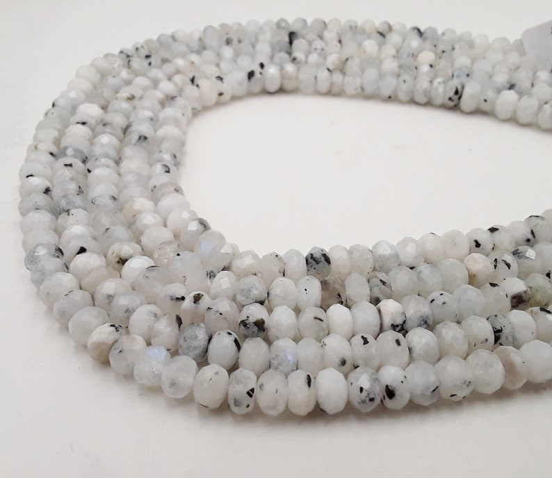 White Moonstone Faceted Rondelle Size 5x8mm 15.5 Strand image 0