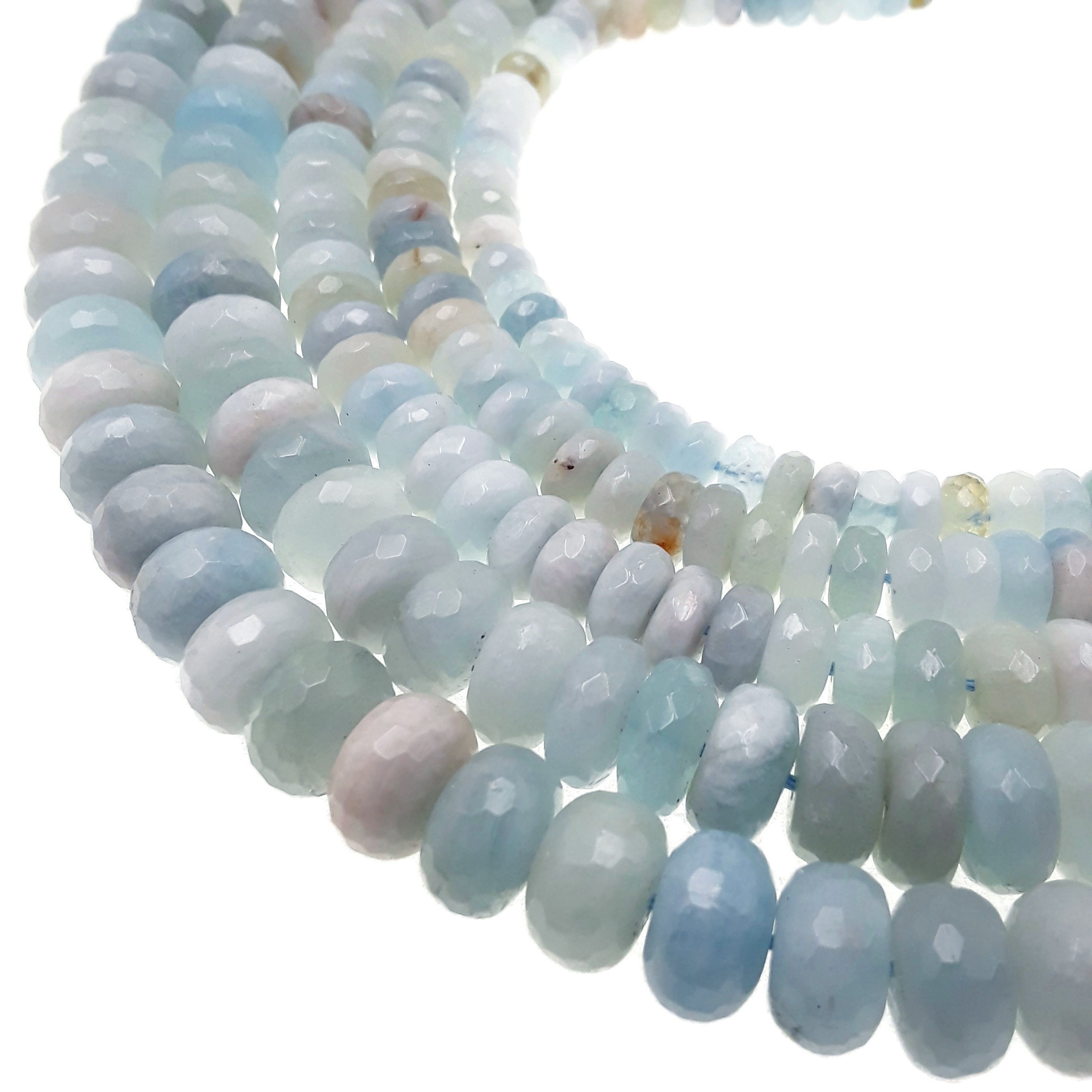 1 Strand Natural Faceted 2mm Aquamarine Gemstone Jewelry Making Rondelles Bead