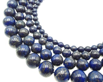 "Lapis Lazuli Smooth Round Beads 6mm 8mm 10mm 12mm 15.5"" Strand"