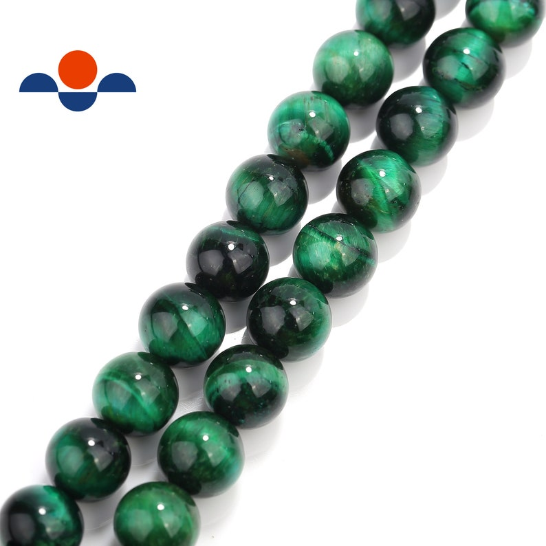 2.0mm Hole Green Tiger Eye Smooth Round Beads 6mm 8mm 10mm 15.5 Strand