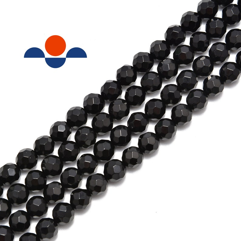 Black Onyx Big Faceted Round Size 8mm 10mm 15.5 Strand image 0