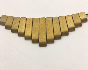 Nice Golden Plated Graduated Matte Hematite Tab Size 9-27mm Approx 15.5 Inches per Strand.I-HEM-61818