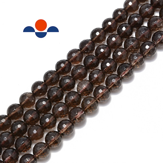 """4mm Natural Smoky Quartz Faceted Round Loose Beads 15.5/"""""""