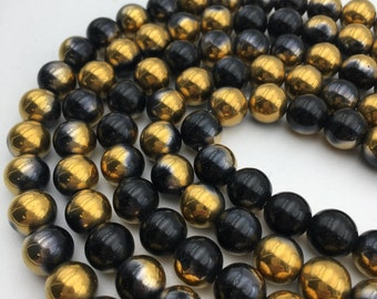 "Coated Opalite Black & Gold Smooth Round Loose Beads Size 8mm/10mm/12mm Approx 15.5"" Long per Strand"