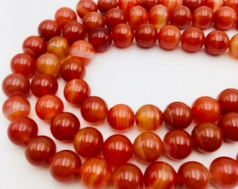 """Natural Red Stripe Agate Smooth Round Beads 6mm 8mm 10mm 12mm Approx 15.5"""" Str"""