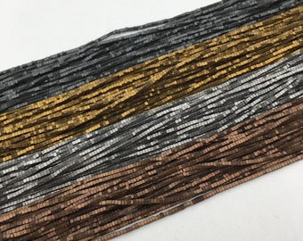 "Matte Rectangular Hematite Gray/Gold/Silver/Copper Plated Gemstone Loose Beads Size 1mm Approx 15.5"" Long per Strand"
