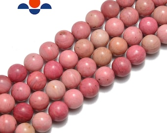 """Pink Petrified Rhodonite Smooth Round Beads 6mm 8mm 10mm 15.5"""" Strand"""