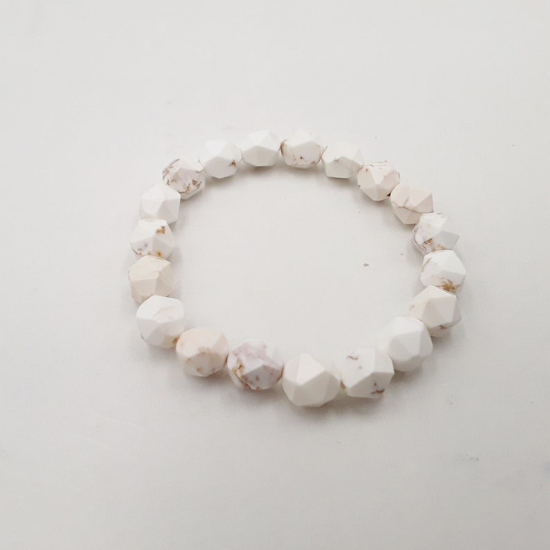White Turquoise Bracelet Faceted Star Cut Size 8mm 10mm image 0