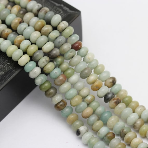 "2.0mm Large Hole Matte Amazonite Rondelle Loose Beads 8/"" Long Size 5x8mm//6x10mm"