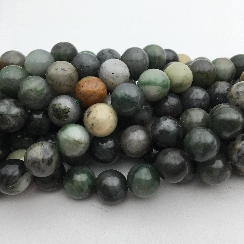 Genuine Jade Beads: Genuine Chinese Sinkiang Jade Gemstone Round Loose Beads