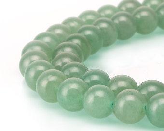 "Green Aventurine Smooth Round Beads 4mm 6mm 8mm 10mm 12mm 15.5"" Strand"