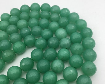"Aventurine Jade Faceted Round Gemstone Loose Beads Size 12mm Approx 15.5"" Long per Strand"