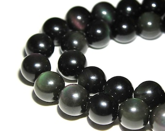 """Rainbow Obsidian Smooth Round Beads 4mm 6mm 8mm 10mm 12mm 15.5"""" Strand"""