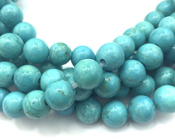 """2.0mm Hole Blue Turquoise Beads Smooth Round Beads 6mm 8mm 10mm 15.5"""" Strand"""