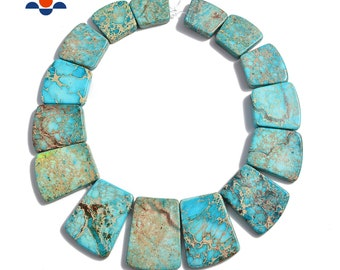 "Blue Sea Sediment Jasper Graduated Trapezoid Slab Slice Beads 22-35mm 15.5""Strnd"