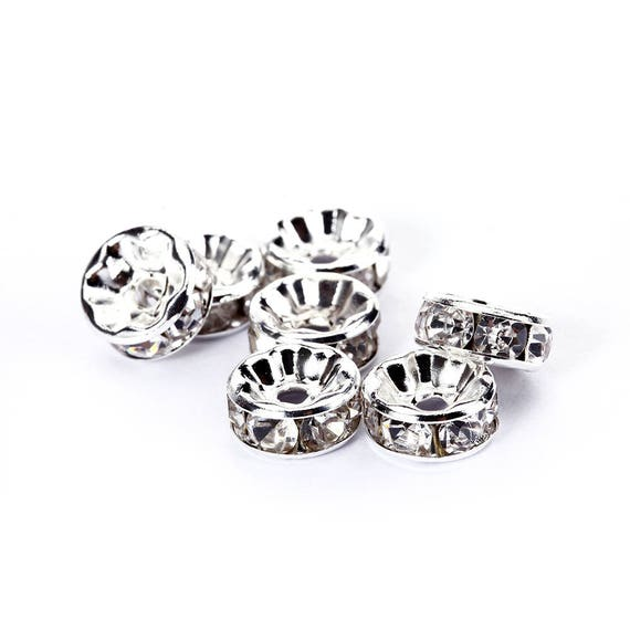 Jet Black Rhinestone Rondelle Spacer 50pcs Per Bag Size 4//6//8//10mm Sold by Bag.