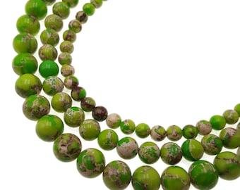 "Green Sea Sediment Jasper Smooth Round Beads 6mm 8mm 10mm 15.5"" Strand"