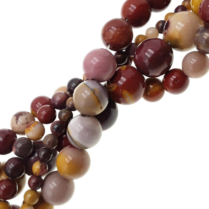 Mookaite Jasper Smooth Round Beads 4mm 6mm 8mm 10mm 12mm Approx 15.5 Strand