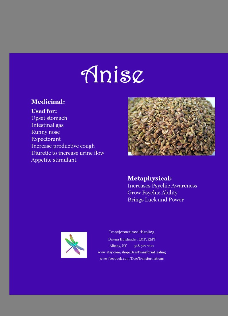 Anise Seed Organic - Increase Power Psychic Ability Magic Luck Spells  Hoodoo Protection Cooking Spice Seed - Dee's Transformational Healing