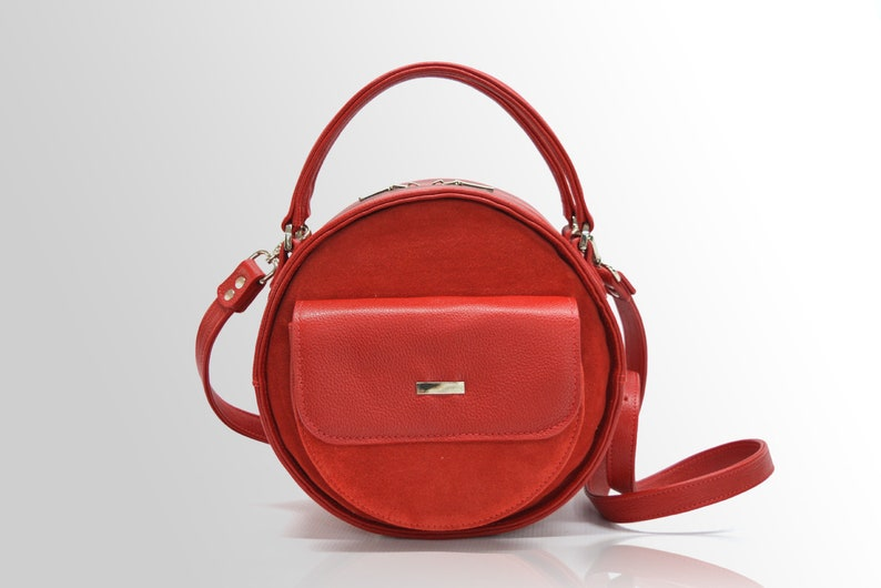 7fc1e34f37b7 Leather round bag circle bag red leather purse leather