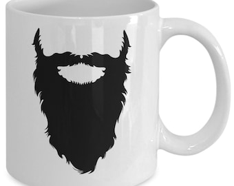 LONG BEARD & MUSTACHE Mug for Men - Father's Day Gift Idea - Husbands - Dads - Stepdads - Hipsters - 11 oz white coffee tea cup
