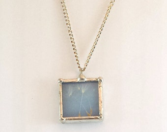 Dandelion Wish Necklace; Dandelion Fluff, Stained Glass, Simple Elegance; Whimsical, Gift Wrapping Available