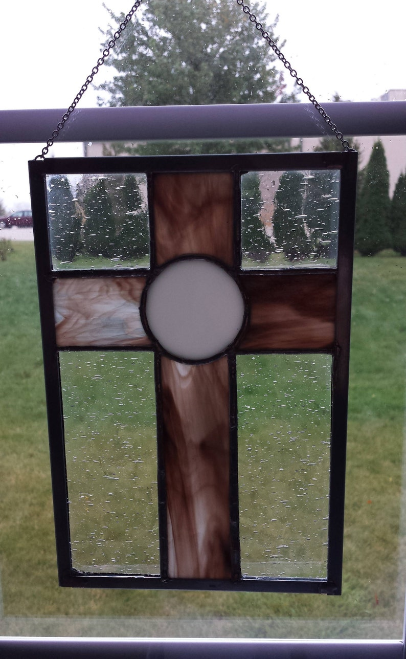 Communion Religious Gift Wrapping Available Sun Catcher window decoration Stained Glass Cross Host Baptism Wafer