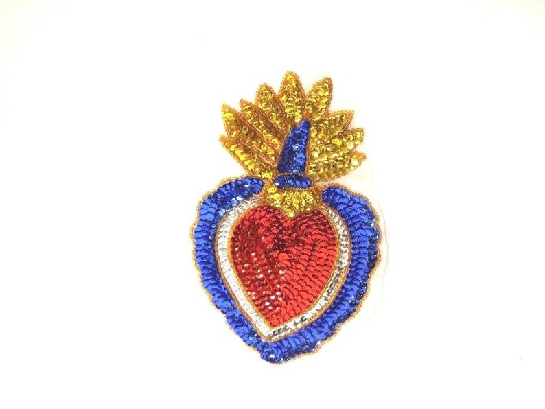 Flaming heart ex voto patch mexican folk art supplies red etsy