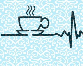 Coffee Heartbeat, Funny Shirt, Snarky Shirt, Sassy Shirt File  SVG DXF JPEG File
