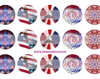 "Patriotic Bottle Cap Collage Sheet 1"" Round Bottlecap, Instant Download, Digital Graphic"