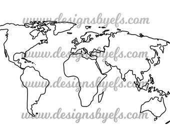 World Map Outline, Globe Outline SVG DXF JPEG File