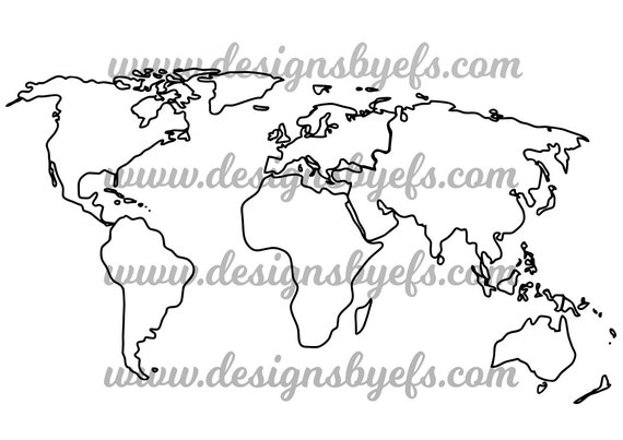 World Map Outline Globe Outline Svg Dxf Jpeg File