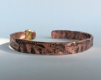 Textured copper cuff bangle bracelet with brass