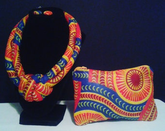 Red & Yellow Knotted Necklace -African Fabric Chocker -African Style Necklace -Wax Print -Zipper Pouch African -Big Bold Chunky Necklaces