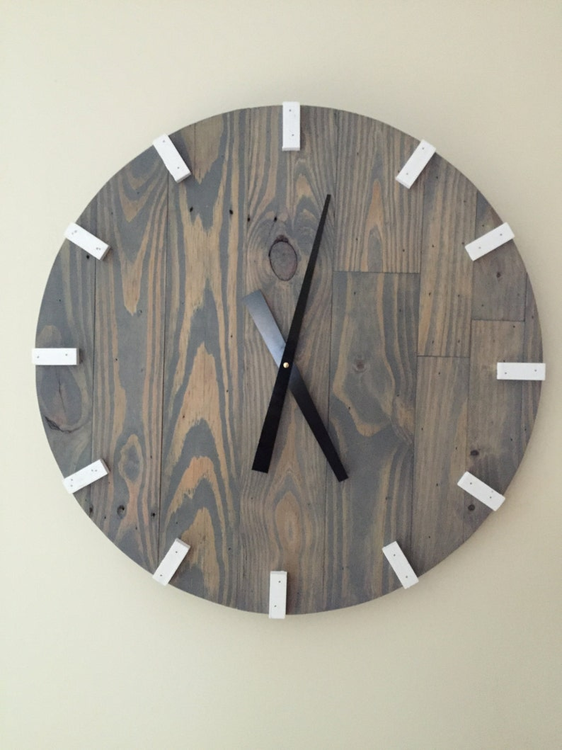 Large Gray Modern Wood Clock Pallet Wood Clock Reclaimed image 0