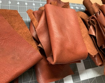 Scrap leather pieces, leather remnants, free shipping, leather for crafts, 1 pound