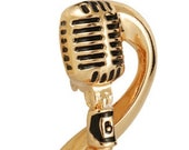 Musical Note Microphone Lapel Pin