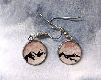 Warm Morning - Original Watercolor Mountain Painting EARRINGS (small)
