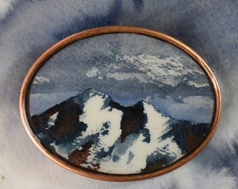 Drastically Calm Mountains - Original Watercolor Mountain Painting in a Belt Buckle