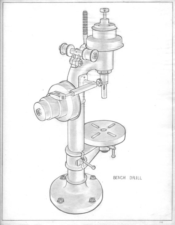 Fine Bench Drill Original 1940S Industrial Drawings World War Ii Era Parts And Tools Ink On Paper Unframed Vintage Rare Machost Co Dining Chair Design Ideas Machostcouk