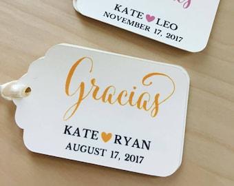 GRACIAS Favor Tags,GRACIAS Wedding Favor Tags,Wedding Favor Tags,Bridal Shower Favor Tags,Custom Favor Tags,GRACIAS Tags