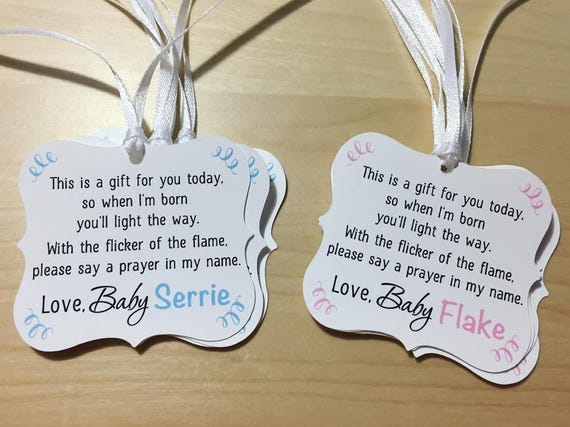 Candle Baby Shower Tagswinter Baby Shower Favor Tagstea Etsy