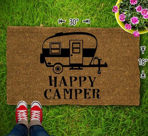 Happy Camper Coir Doormat 18x30 Welcome Mat House Etsy