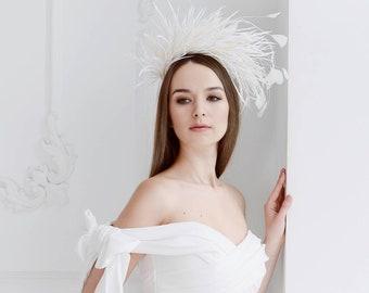 White/Ivory Wedding Feathers Headpiece, Unique Bridal Feathers Headband, Tiara with  Feathers, Festival Wedding Hat