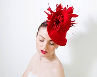 Fashoin Designer Red Fascinator Hat with Birdcage Veil de52b371732