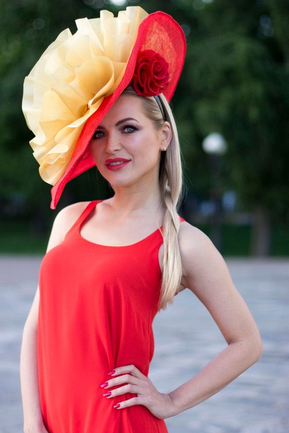 Red Gold sinamay melbourne royal ascot fascinator hat  f80b2a32e59