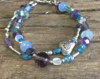 Sterling Multi-Strand Bracelet with Multi-Gemstones Amethyst, Chalcedony, Blue, Purples and Aqua
