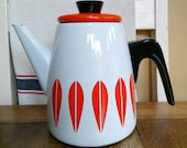 Vintage cathrineholm catherineholm enamel enamelware coffee pot teapot orange red cathrine catherine Holm