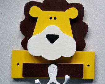 lion hook, wall hook, children's bedroom, kids decor, safari nursery, kids coat hooks, animal hooks, eco friendly, wooden wall hook