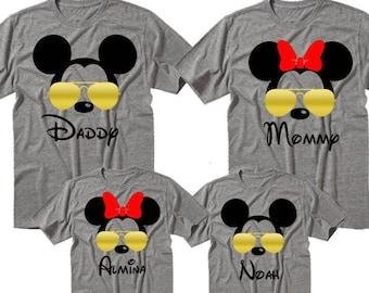 Disney Family Shirts, Mickey Sunglasses Shirts, Matching Disney Tees, Disney Vacation Tee, Gold Sunglasses Tees, Mickey Aviator Shirt
